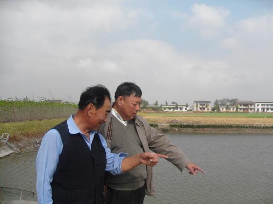 江苏海安县西场镇领导员进户检讨水产养殖示范户秋季鱼池治理